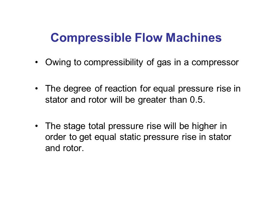Compressible Flow Machines