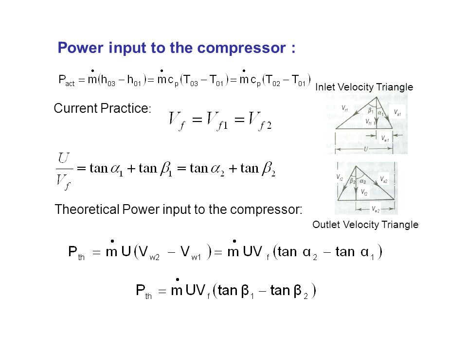 Power input to the compressor :
