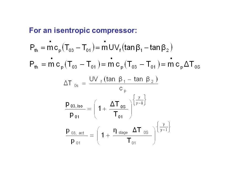 For an isentropic compressor: