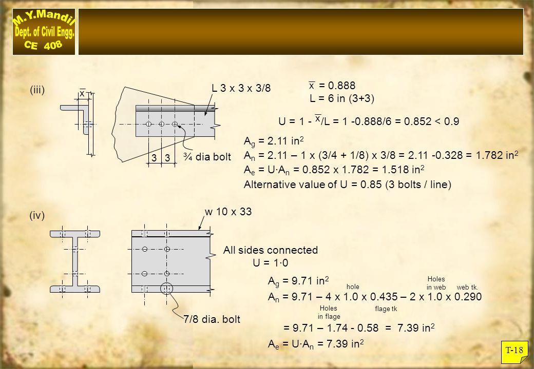 Alternative value of U = 0.85 (3 bolts / line)