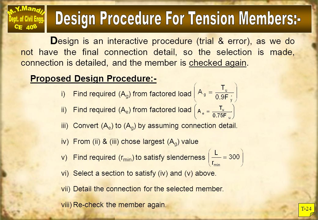 Design Procedure For Tension Members:-
