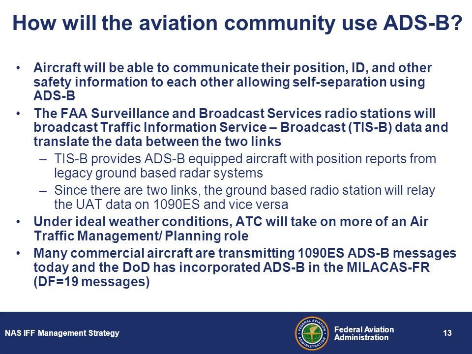 How will the aviation community use ADS-B