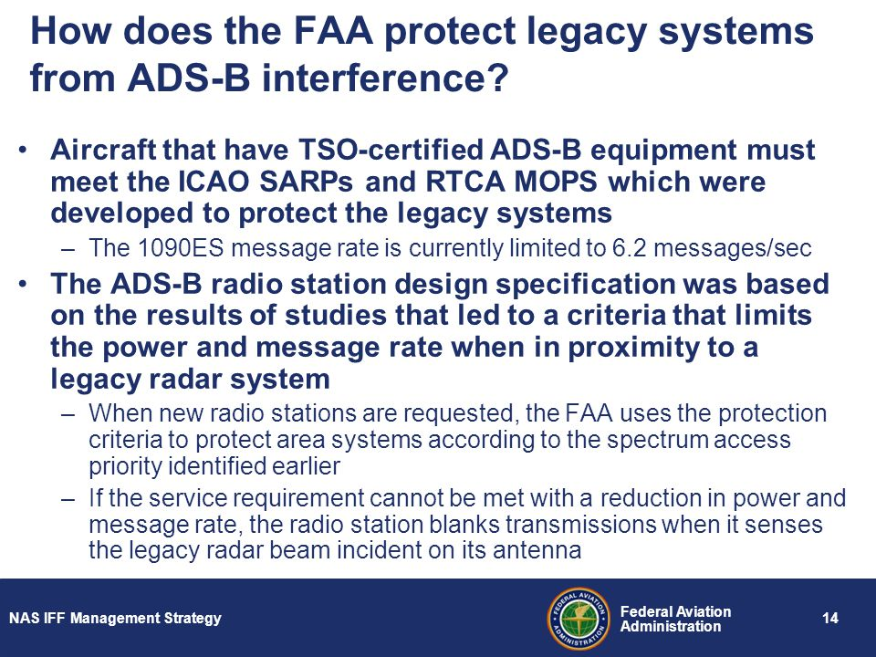 How does the FAA protect legacy systems from ADS-B interference