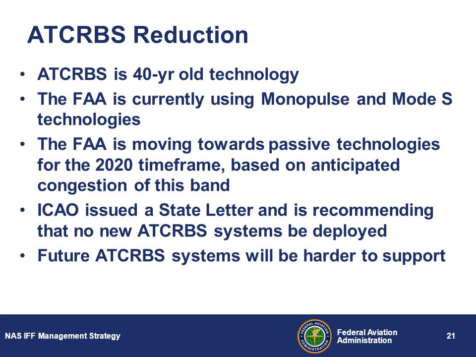 ATCRBS Reduction ATCRBS is 40-yr old technology