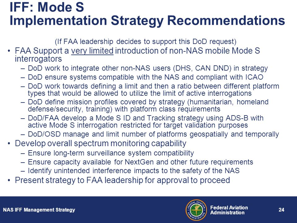IFF: Mode S Implementation Strategy Recommendations
