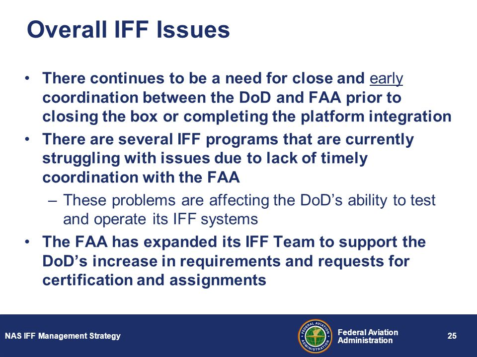 Overall IFF Issues