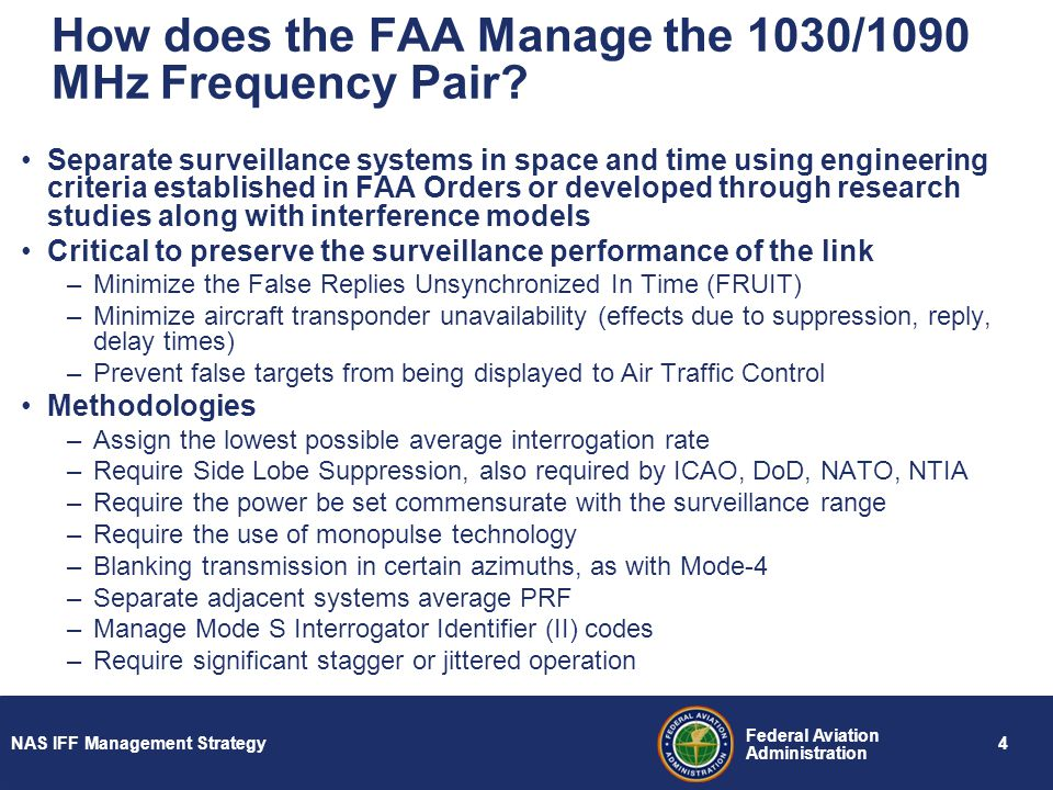 How does the FAA Manage the 1030/1090 MHz Frequency Pair
