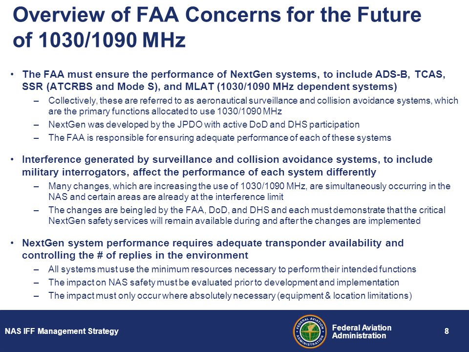 Overview of FAA Concerns for the Future of 1030/1090 MHz