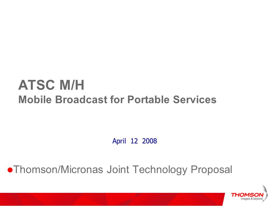 ATSC M/H Mobile Broadcast for Portable Services