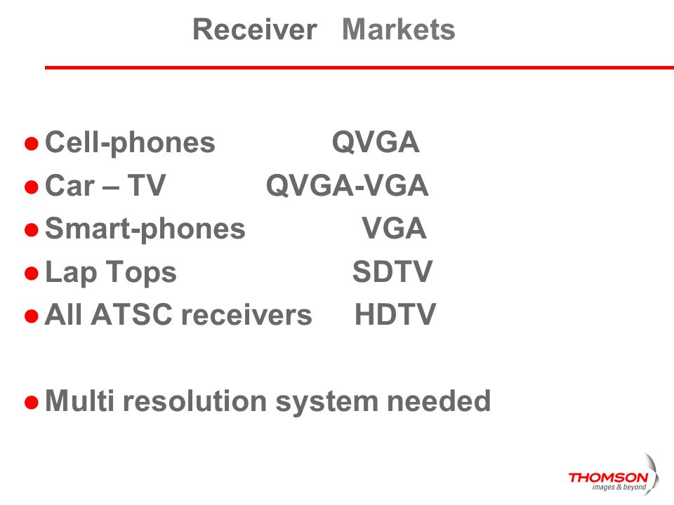 Receiver Markets Cell-phones QVGA. Car – TV QVGA-VGA. Smart-phones VGA.