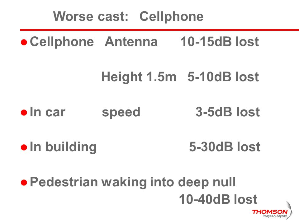 Worse cast: Cellphone Cellphone Antenna 10-15dB lost. Height 1.5m 5-10dB lost. In car speed 3-5dB lost.