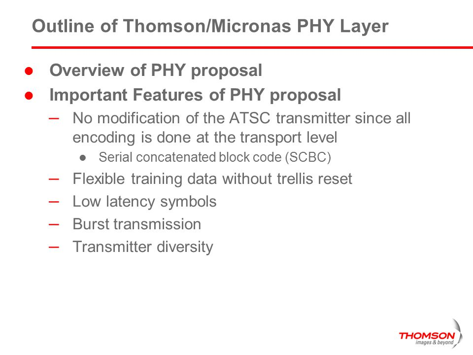 Outline of Thomson/Micronas PHY Layer