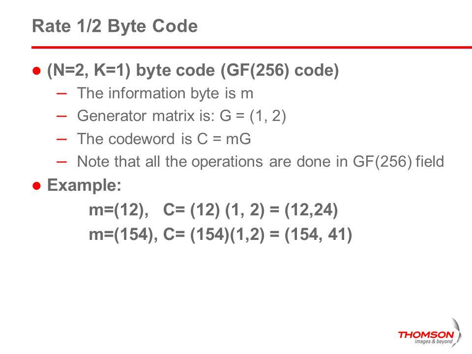Rate 1/2 Byte Code (N=2, K=1) byte code (GF(256) code) Example: