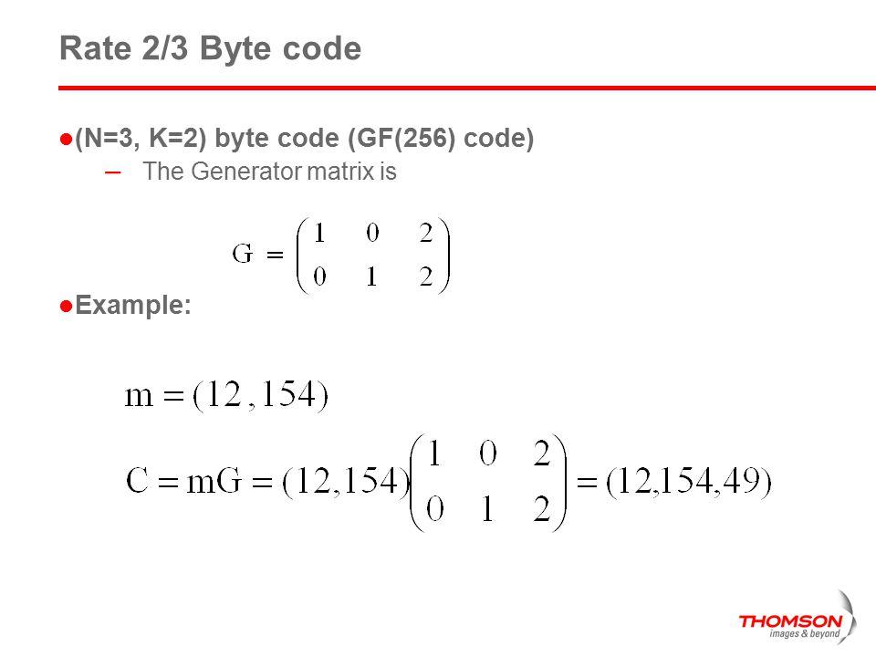 Rate 2/3 Byte code (N=3, K=2) byte code (GF(256) code) Example: