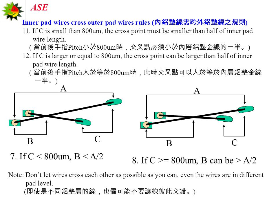 8. If C >= 800um, B can be > A/2