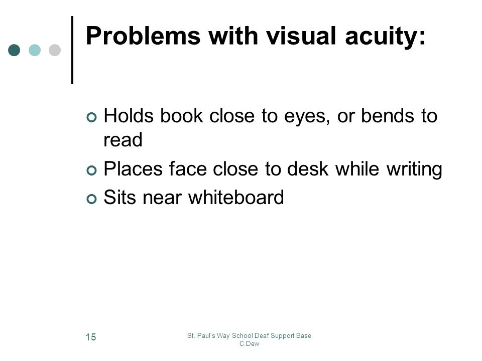 Problems with visual acuity: