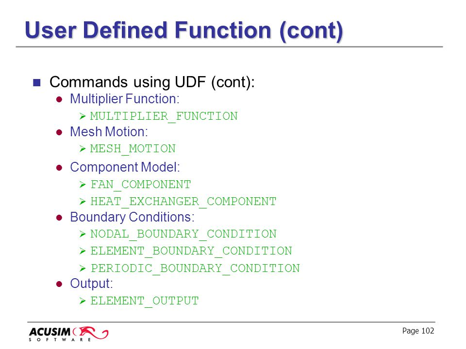 User Defined Function (cont)