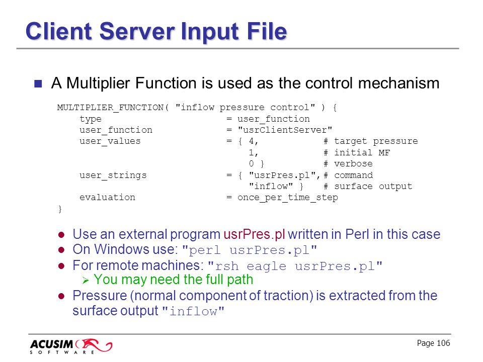 Client Server Input File