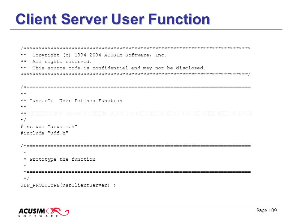 Client Server User Function