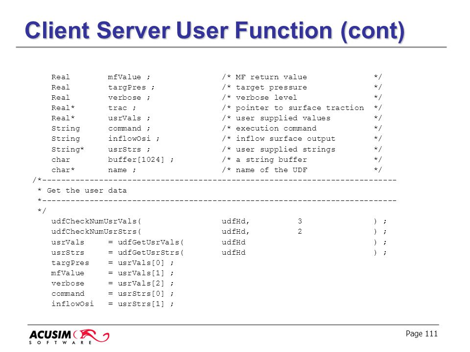 Client Server User Function (cont)