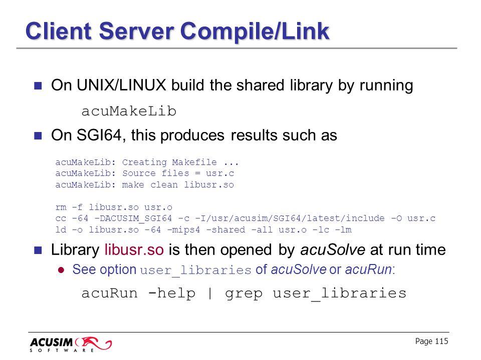 Client Server Compile/Link