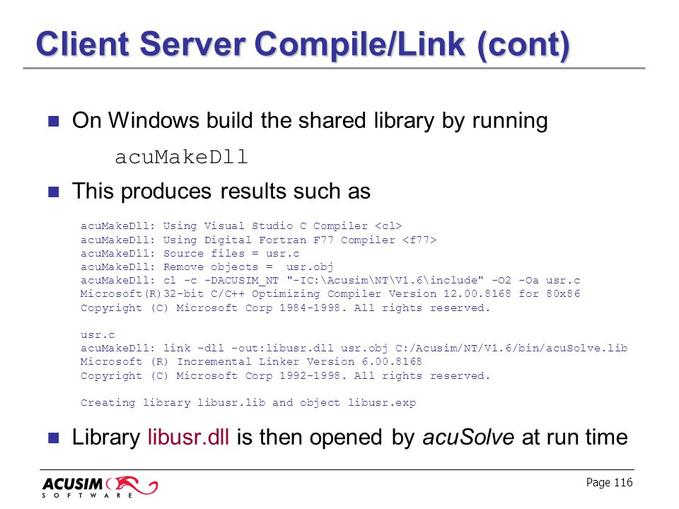 Client Server Compile/Link (cont)