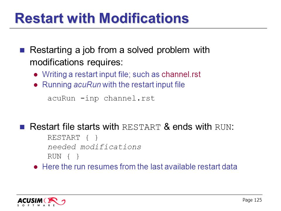 Restart with Modifications