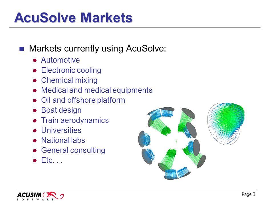 AcuSolve Markets Markets currently using AcuSolve: Automotive
