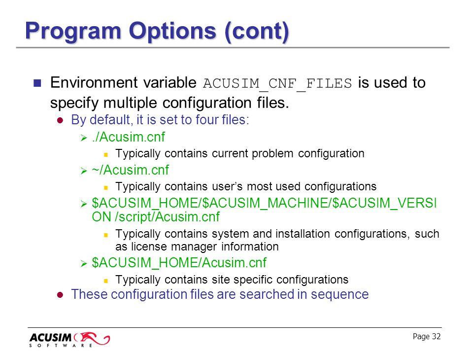Program Options (cont)