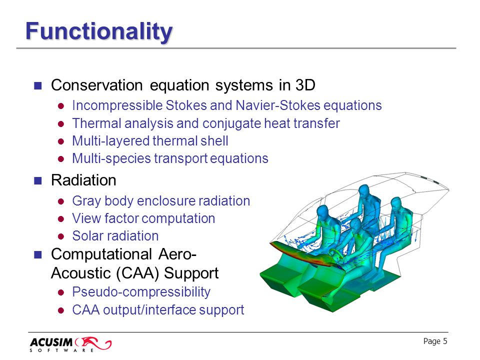 Functionality Conservation equation systems in 3D Radiation