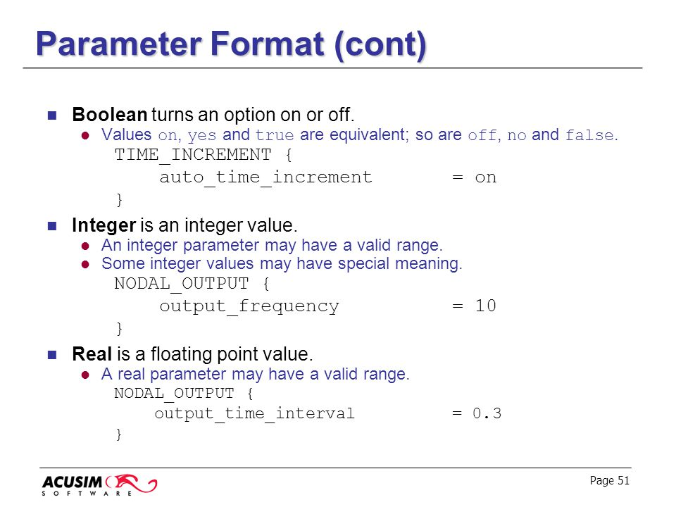 Parameter Format (cont)