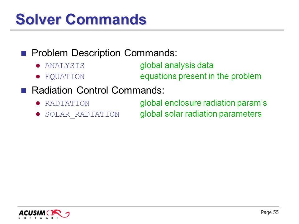Solver Commands Problem Description Commands: