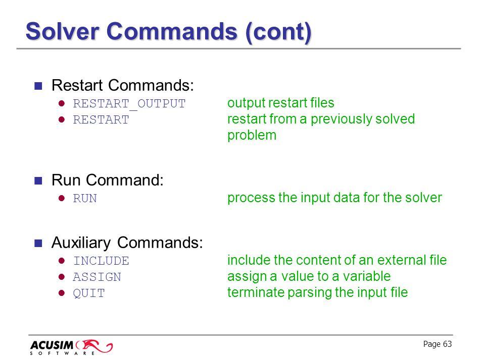 Solver Commands (cont)