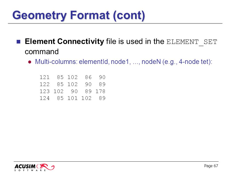 Geometry Format (cont)