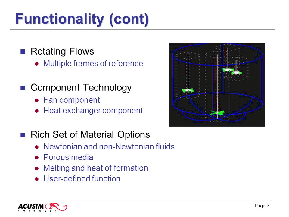 Functionality (cont) Rotating Flows Component Technology