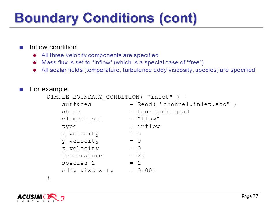 Boundary Conditions (cont)