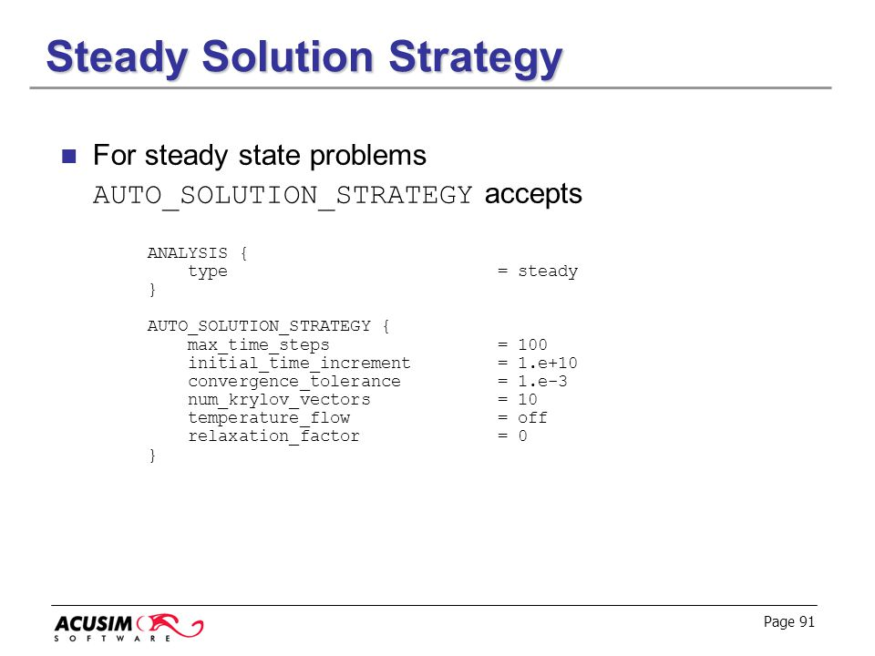 Steady Solution Strategy