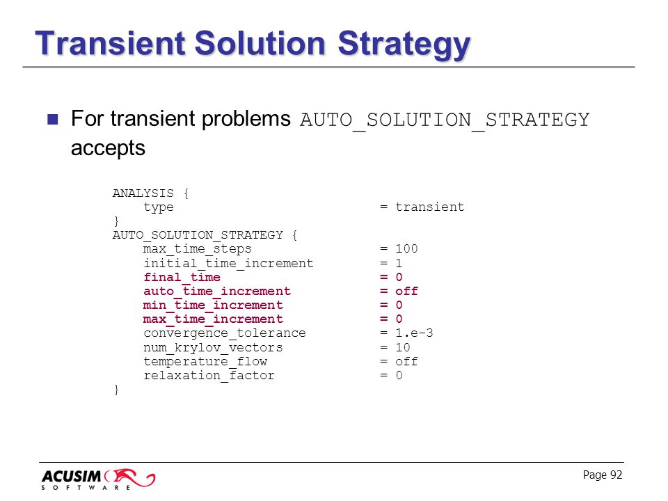 Transient Solution Strategy