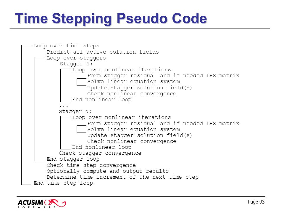 Time Stepping Pseudo Code