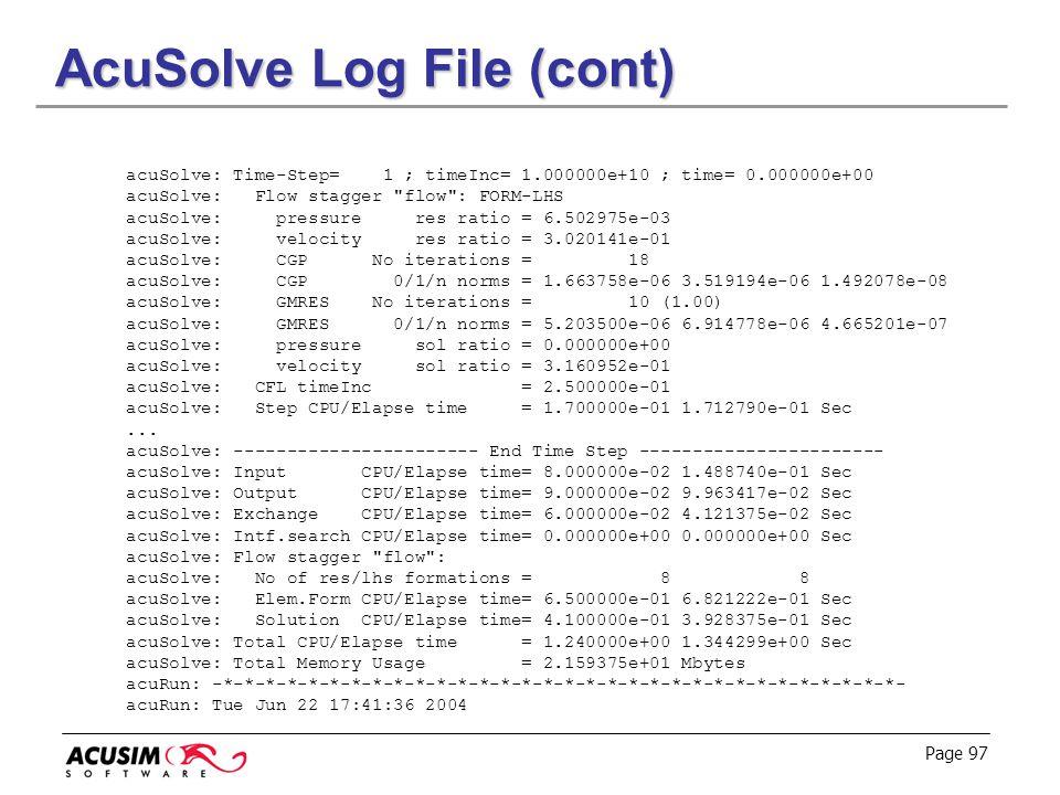 AcuSolve Log File (cont)