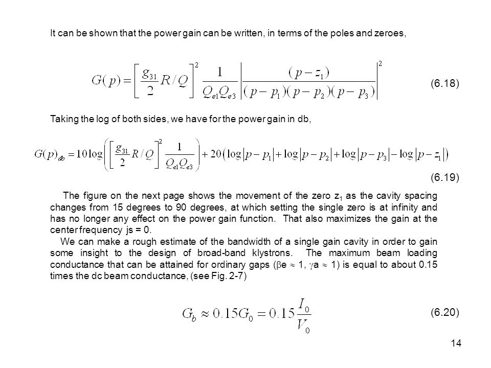 It can be shown that the power gain can be written, in terms of the poles and zeroes,