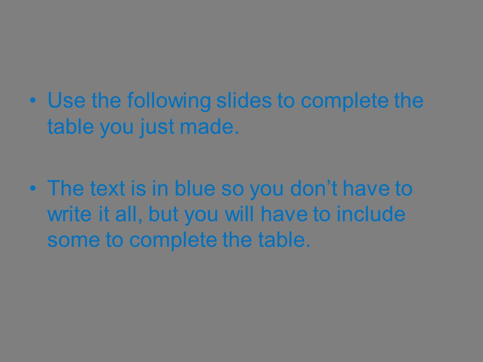 Use the following slides to complete the table you just made.