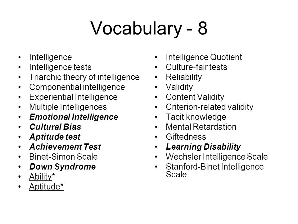 Vocabulary - 8 Intelligence Intelligence tests