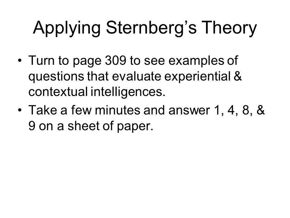 Applying Sternberg's Theory