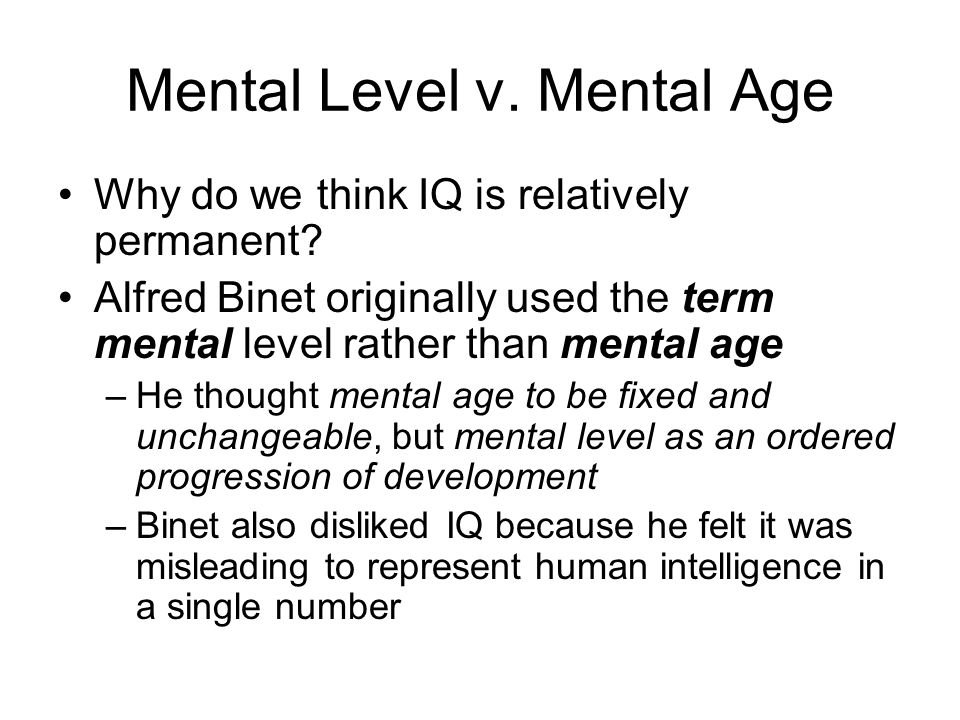 Mental Level v. Mental Age