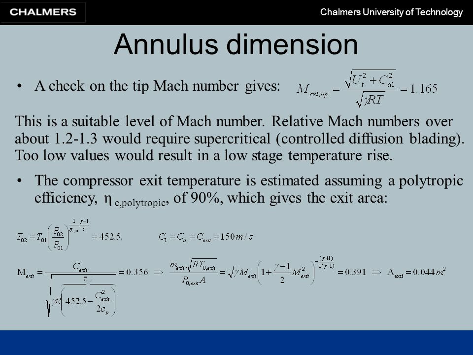 Annulus dimension A check on the tip Mach number gives: