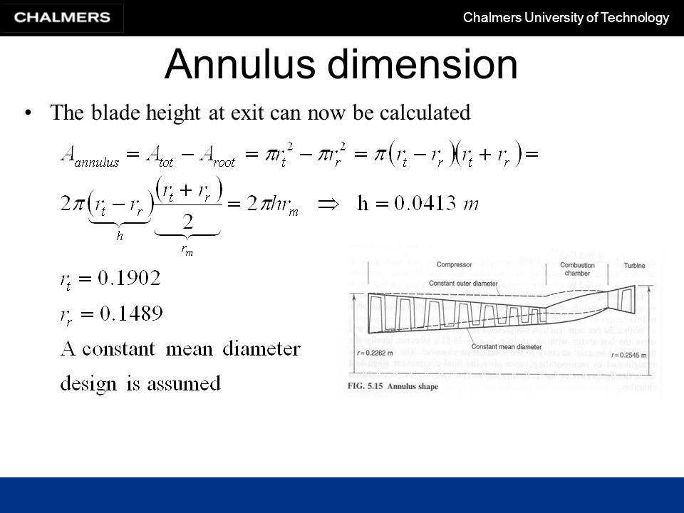Annulus dimension The blade height at exit can now be calculated