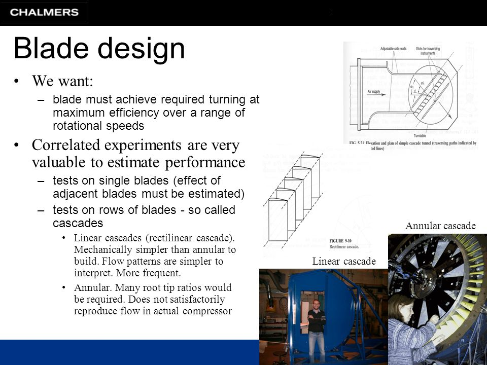 Blade design We want: blade must achieve required turning at maximum efficiency over a range of rotational speeds.