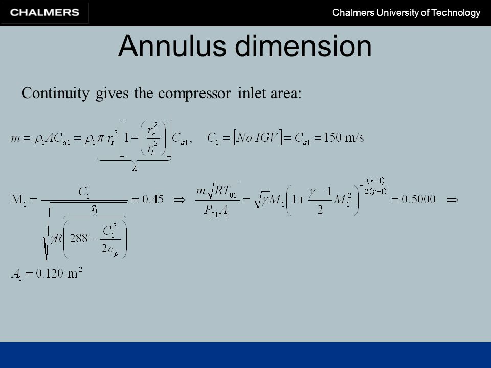 Annulus dimension Continuity gives the compressor inlet area: