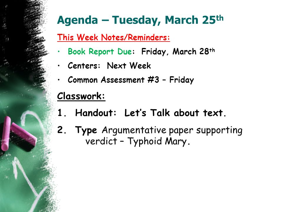 Agenda – Tuesday, March 25th